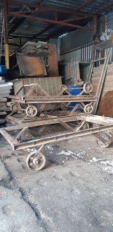 Wózek transportowy stary platforma żeliwne koła loft PRL