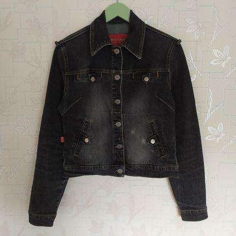 Женский джинсовый пиджак, джинсовая куртка, цвет графит, размер M/S