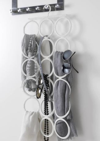 IKEA wieszak biały wielofunkcyjny na pasek, apaszka, okulary, szal