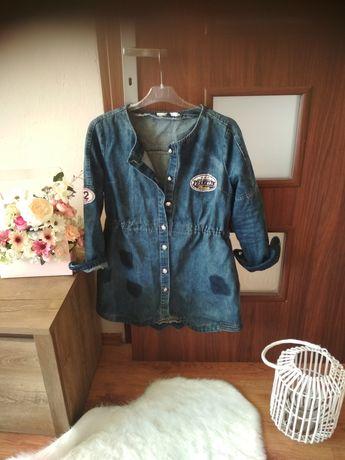 Jeansowa kurtka katana dżinsowa długa parka naszywki M- L