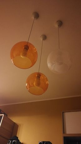 Lampa potrójna, 3 klosze-kule, zestaw 3 lamp