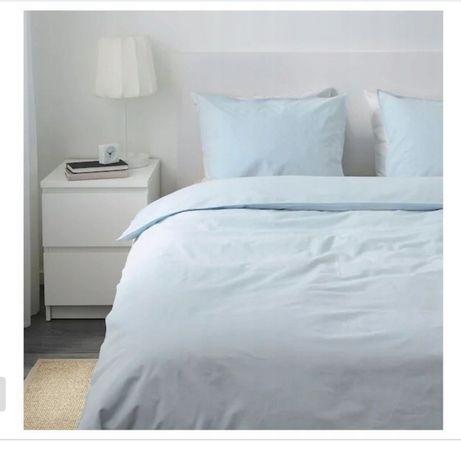 Ikea angslilja komplet zestaw pościeli 200x220 niebieski blękitny