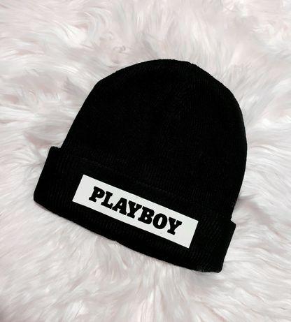 Czarna czapka zimowa PLAYBOY damska meska uniseks