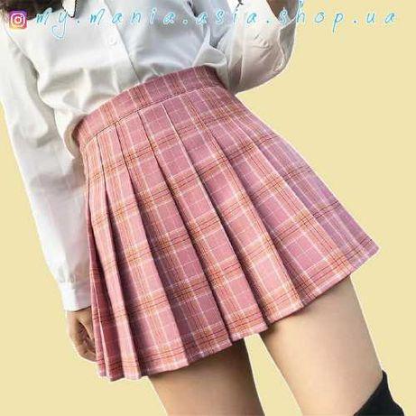 Плиссированная юбка кпоп kpop cosplay косплей розовая белая черная