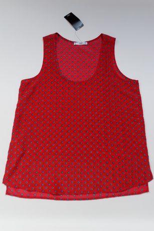 NOWY top bluzeczka MANGO czerwony wzorki L