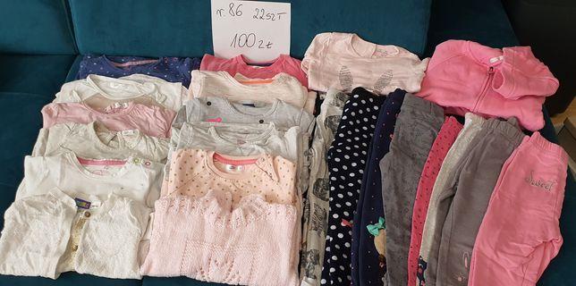 Zestaw ubranek dla dziewczynki rozmiar 86 bluzy swetry dres legginsy