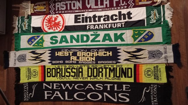 6 x Szalik Aston Villa Eintracht WBA Borussia D. Newcastle Sandzak