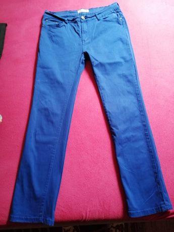 Spodnie jeansowe chabrowe wysoki stan rozm. 44
