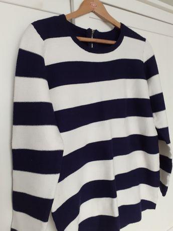 Sweter w paski granatowo białe