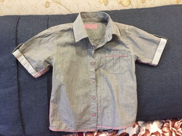 Рубашка тенниска мальчику Сер клетка Rebel 5/6 лет 110-115 см 75грн