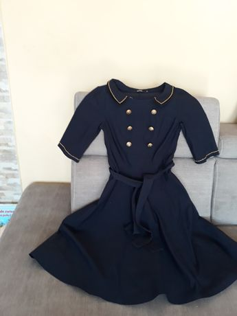 Elegancka  sukienka granatowa  ze zlotym