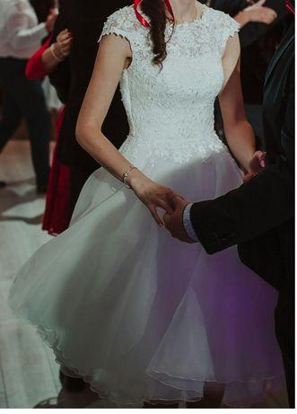Piękna krótka suknia ślubna XS S