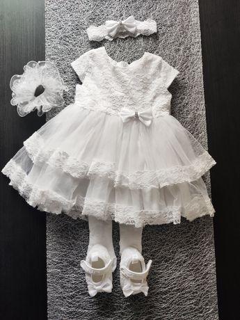 Sukienka na chrzciny 62 68 komplet chrzest buciki