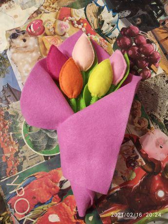 Тюльпан цветок квітка букет фетр фетра 8 березня Марта