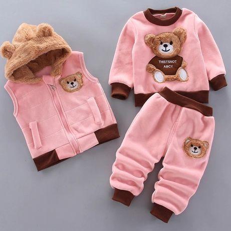 КОСТЮМ, тёплый детский костюм, комплект тройка на девочку 3-4 года