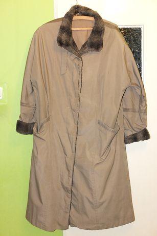 Elegancki płaszcz trencz długi jesienny ciemny beż beżowy całoroczny
