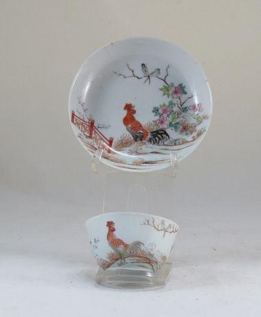 Tigela+Pires chá Porcelana Chinesa dec Familia Rosa Período Yung Cheng
