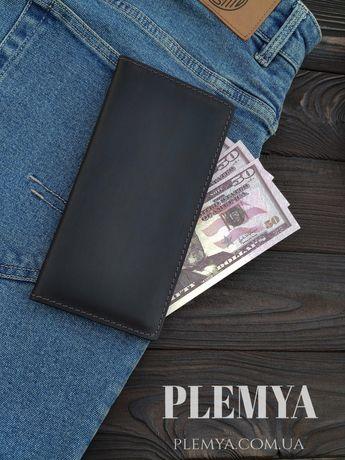 Кошелек мужской кожаный Портмоне черный клатч бумажник гаманець кожа