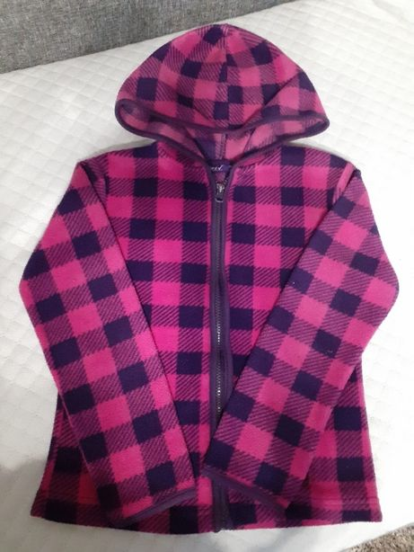 bluza polar w kratę r.128 dla dziewczynki