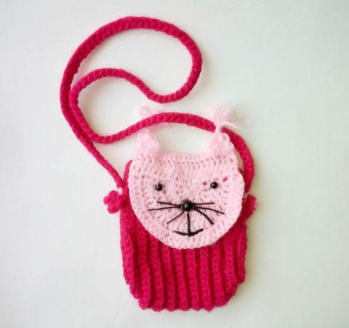 Różowa Torebka dla Dziewczynki na ramię, Śliczny kotek, Prezent