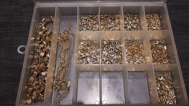 Duży zestaw do produkcji sztucznej bizuterii w kolorze złota, okazja!