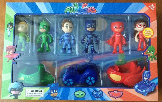 Pack pj masks 6 figuras e 3 carros dos heróis Catboy Corujinha e Gekko