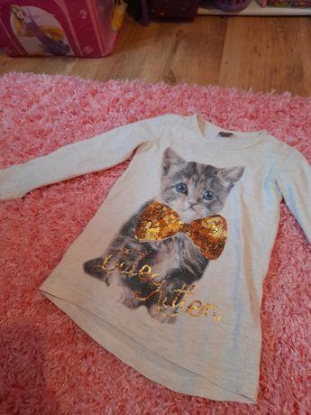 Bluzka z długim rękawem dla dziewczynki 116 5 6 lat kotek cekinowa