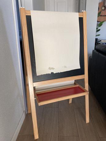 Cavalete madeira, quadro atividades