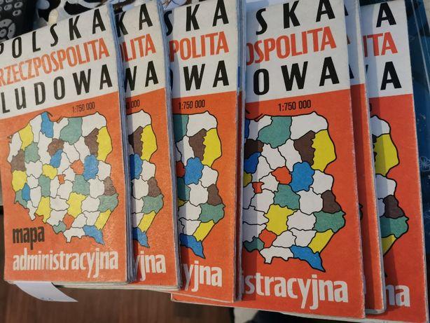 Polska Rzeczpospolita Ludowa - mapa administracyjna