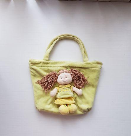 Torebka dziecięca dziewczęca lalka welur