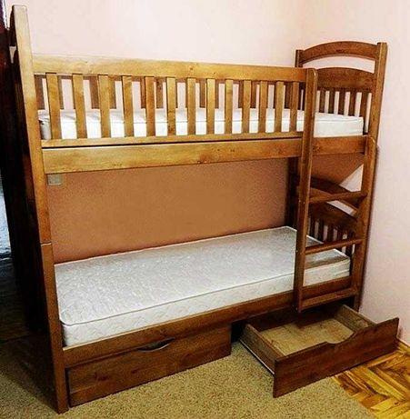 Двухъярусная кровать деревянная. От ее производителя + матрасы. Акция