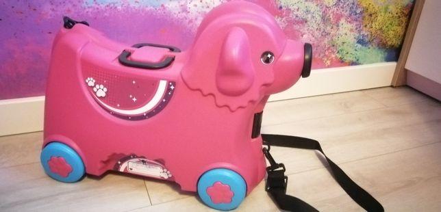 Jeździk walizka big trolley różowa stan idealny