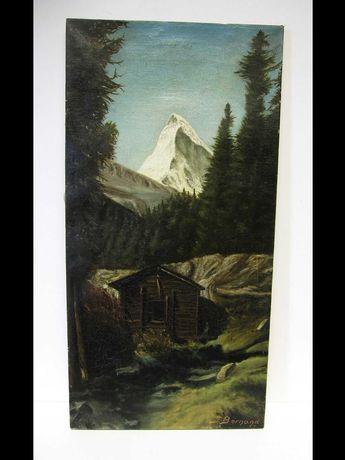 antiga pintura  em óleo.-paisagem com Matterhorn-assinada J. Bornand
