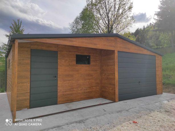 Garaż drewnopodobny 4x6 6x5.80 6x6 7x6 8x6 10x6 12x6 profil zamkniety.