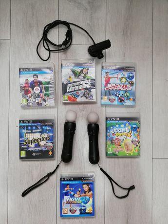 Kontrolery Move PS3 PS4 VR 6gier Kamerka Mega zestaw