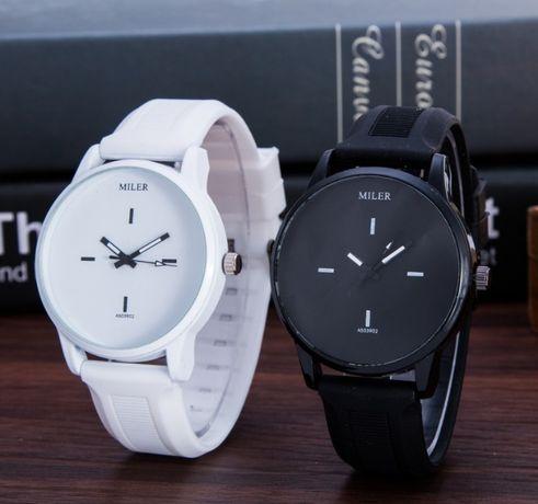 Парные наручные часы женские мужские милер белые черные силиконовые