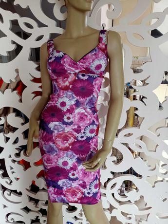 Sukienka w kwiaty gorsetowa taliowana midi różowa XS cudo!!