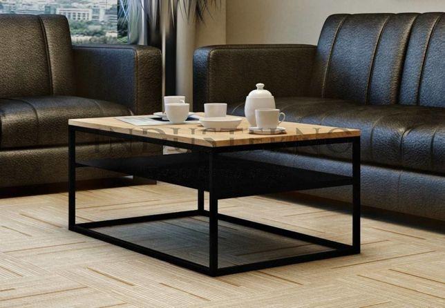 Stolik industrialny stół z półką kawowy ława loft biurowy firma nowy