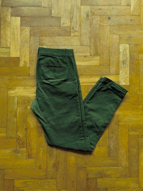 Spodnie chinosy chino Weekday Wood Chinos Green zielone Zalando