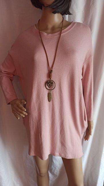 Sukienka tunika bluzka oversize pudrowy róż M L XL 38 40 42