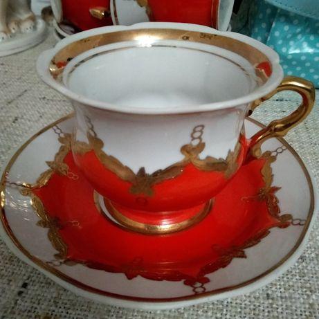 Чайная пара бутон сервиз посуда ссср чашка блюдце молочник чайник