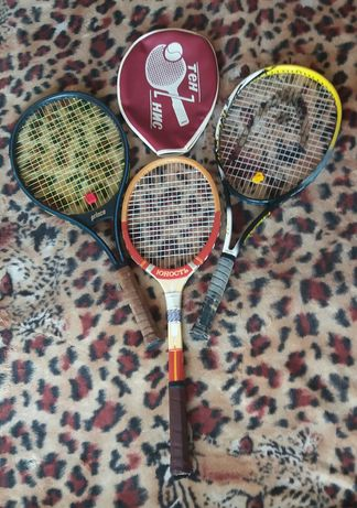 Ракетки для большого тенниса Prince и Юность (СССР) с чехлом