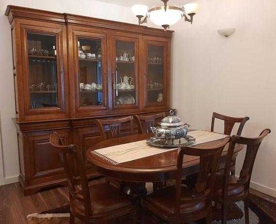 Sala de Jantar Completa - Móvel/mesa/6 cadeiras/Carrinho de bebidas