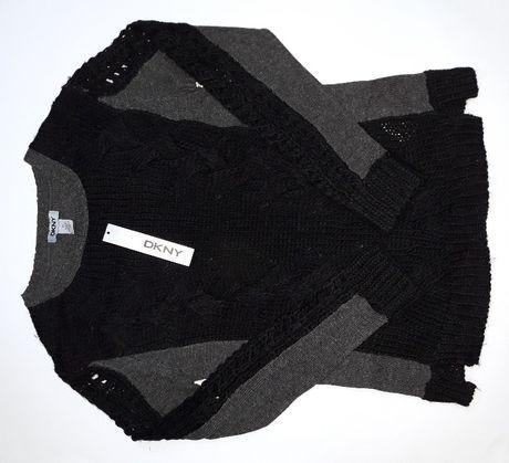 DKNY Donna Karan Welniany Dziergany Azurowy Sweter Czarny Szary S