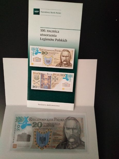 Banknot kolekcjonerski 20 zł Legiony Polskie + folder