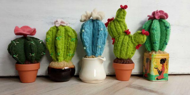 Kaktusy, filc, ozdoba, rękodzieło