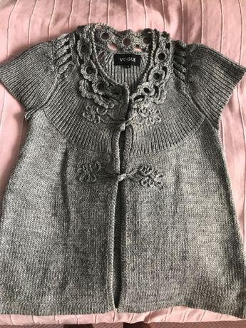 Sweter kamizelka szara z wełną z ładnymi zdobieniami