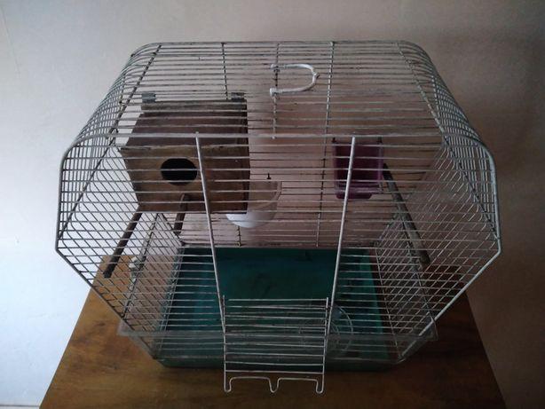 Klatka dla ptaków papugi z budką lęgową i poidełkami