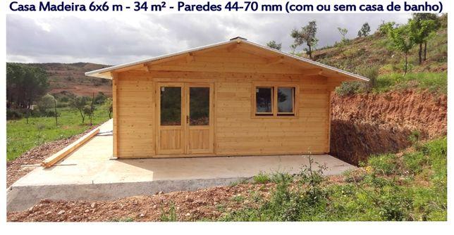Casa de Madeira 6x6 m - 34 m² - 44 e 70 mm parede/ Casa pre-fabricada
