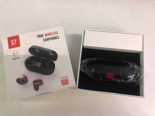 True Wireless Earphones - 5.1. - S 7 Deep Bass  LED Power Display